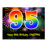 [ Thumbnail: 95th Birthday – Fun Fireworks Pattern + Rainbow 95 Postcard ]