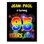 "[ Thumbnail: 95th Birthday - Fun Fireworks, Rainbow Look ""95"" Postcard ]"