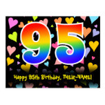 [ Thumbnail: 95th Birthday: Fun Hearts Pattern, Rainbow 95 Postcard ]