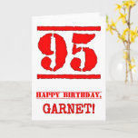 [ Thumbnail: 95th Birthday: Fun, Red Rubber Stamp Inspired Look Card ]