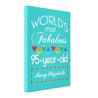 95th Birthday Most Fabulous Colorful Gem Turquoise Canvas Print