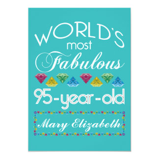 95th Birthday Most Fabulous Colorful Gem Turquoise Card