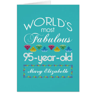 95th Birthday Most Fabulous Colorful Gem Turquoise Greeting Card