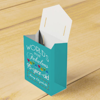 95th Birthday Most Fabulous Colorful Gem Turquoise Party Favor Box