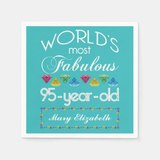 95th Birthday Most Fabulous Colorful Gem Turquoise Paper Napkin