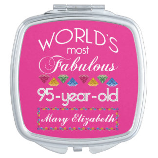 95th Birthday Most Fabulous Colorful Gems Pink Compact Mirror