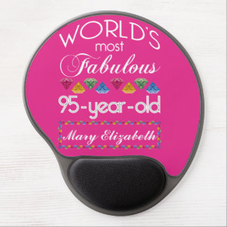 95th Birthday Most Fabulous Colorful Gems Pink Gel Mouse Pad