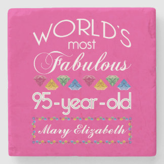 95th Birthday Most Fabulous Colorful Gems Pink Stone Coaster