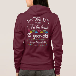 95th Birthday Most Fabulous Colorful Gems Pink Hoodie