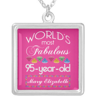 95th Birthday Most Fabulous Colorful Gems Pink Silver Plated Necklace