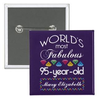 95th Birthday Most Fabulous Colorful Gems Purple Buttons
