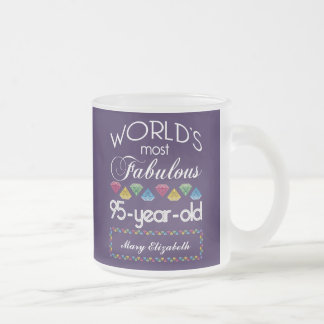 95th Birthday Most Fabulous Colorful Gems Purple Frosted Glass Coffee Mug