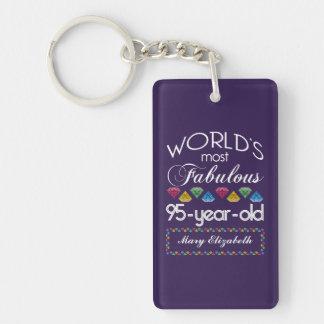 95th Birthday Most Fabulous Colorful Gems Purple Keychain