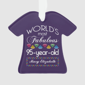 95th Birthday Most Fabulous Colorful Gems Purple Ornament