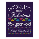 95th Birthday Most Fabulous Colorful Gems Purple Poster