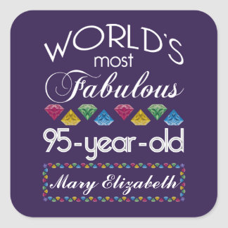 95th Birthday Most Fabulous Colorful Gems Purple Square Sticker