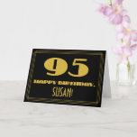 "[ Thumbnail: 95th Birthday: Name + Art Deco Inspired Look ""95"" Card ]"
