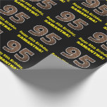 """[ Thumbnail: 95th Birthday: Name & Faux Wood Grain Pattern """"95"""" Wrapping Paper ]"""