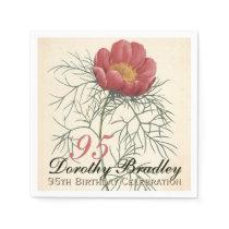 95th Birthday Party Botanical Peony Paper Napkin