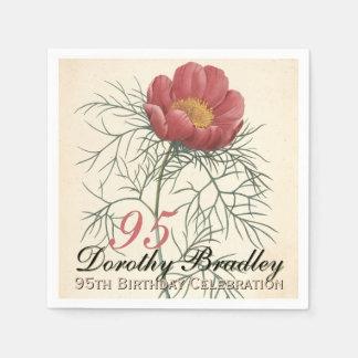 95th Birthday Party - Botanical Peony Paper Napkin Standard Cocktail Napkin