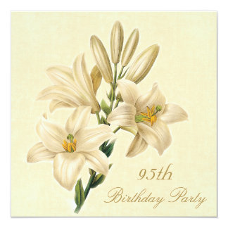 95th Birthday Party Chic Vintage Lily Flowers 5.25x5.25 Square Paper Invitation Card