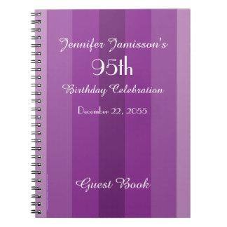 95th Birthday Party Guest Book Purple Stripe Spiral Notebook