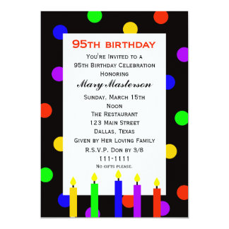 """95th Birthday Party Invitation -- Candles and Dots 5"""" X 7"""" Invitation Card"""