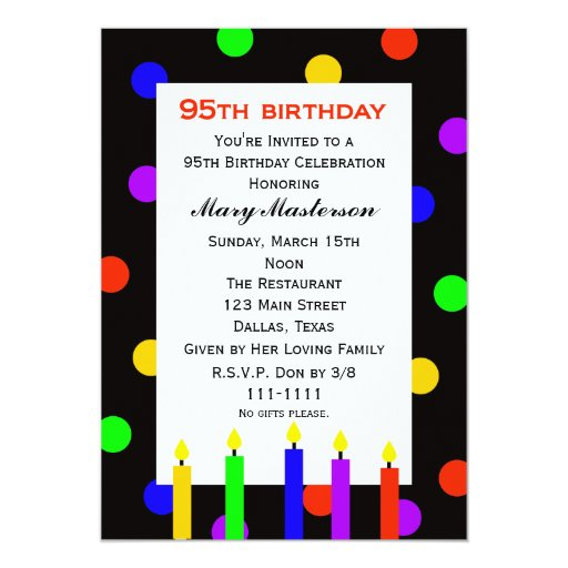 95th Birthday Party Invitation -- Candles and Dots