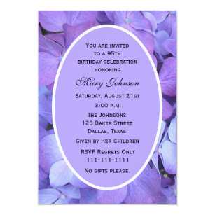 95th Birthday Party Invitation Hydrangeas