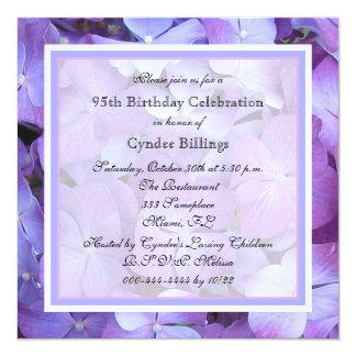 95th Birthday Party Invitation Purple Hydrangeas