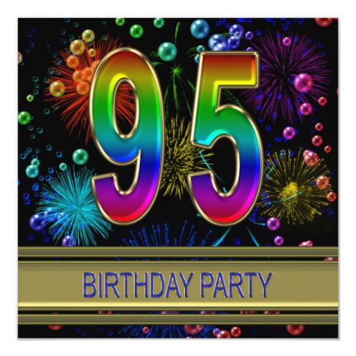 95th birthday party invitation with bubbles