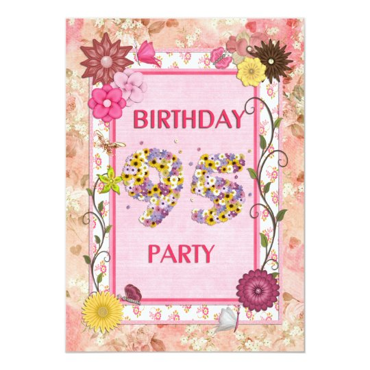 95th birthday party invitation with floral frame