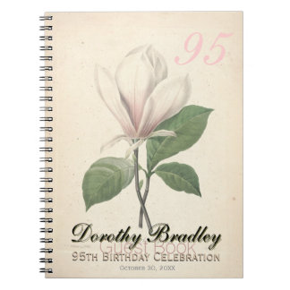 95th Birthday Party - Magnolia Custom Guest Book Spiral Note Books