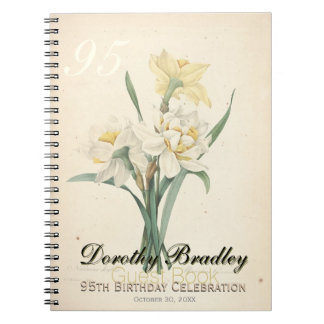 95th Birthday Party Narcissus Botanical Guest Book Notebook