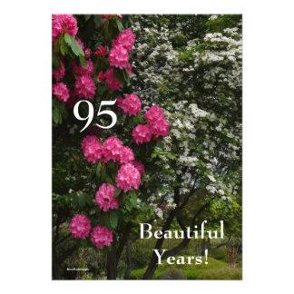 95th Birthday Party-Pink and White Flower Garden Custom Invitation