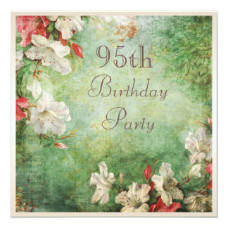 """95th Birthday Party Shabby Chic Hibiscus Flowers 5.25"""" Square Invitation Card"""