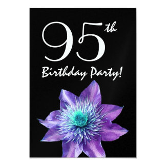 95th Birthday Party Template Purple Passion Flower 5x7 Paper Invitation Card