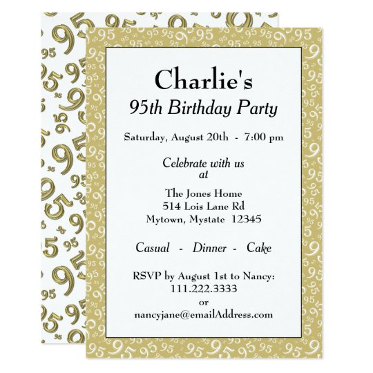 95th Birthday Party Theme Gold And White Pattern Invitation