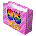 [ Thumbnail: 95th Birthday: Pink Stripes & Hearts, Rainbow # 95 Gift Bag ]