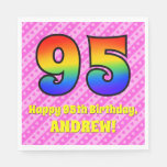 [ Thumbnail: 95th Birthday: Pink Stripes & Hearts, Rainbow # 95 Napkins ]
