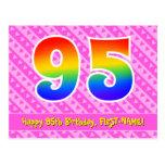 [ Thumbnail: 95th Birthday: Pink Stripes & Hearts, Rainbow 95 Postcard ]