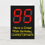 "[ Thumbnail: 95th Birthday: Red Digital Clock Style ""95"" + Name Card ]"