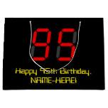 "[ Thumbnail: 95th Birthday: Red Digital Clock Style ""95"" + Name Gift Bag ]"