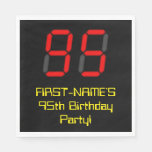 "[ Thumbnail: 95th Birthday: Red Digital Clock Style ""95"" + Name Napkins ]"