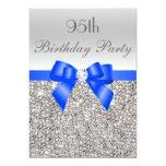 95th Birthday Silver Sequin Royal Blue Bow Diamond 5x7 Paper Invitation Card