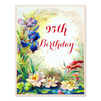 95th Birthday Vintage Waterlilies and Iris Flowers 4.25x5.5 Paper Invitation Card