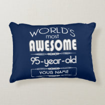 95th Birthday Worlds Best Fabulous Dark Blue Decorative Pillow