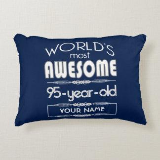 95th Birthday Worlds Best Fabulous Dark Blue Accent Pillow