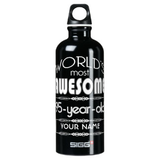 95th Birthday Worlds Best Fabulous Dark Green Fore Aluminum Water Bottle