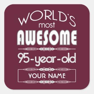 95th Birthday Worlds Best Fabulous Dark Red Square Sticker